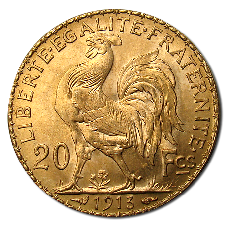 French 20 Franc Rooster Gold Coins